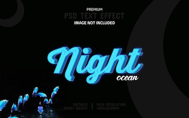Szablon edytowalny efekt tekstowy oceanu nocnego