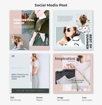 Szablon edytowalny prosty fashion square social post baner