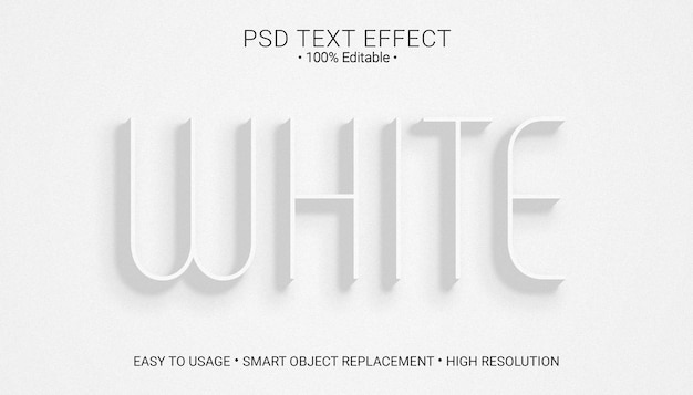 Szablon efektu białego tekstu płaskiego