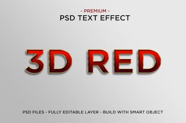 Szablon efektu czerwonego tekstu 3d