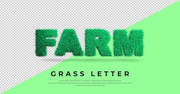 Szablon efektu litery trawy farmy