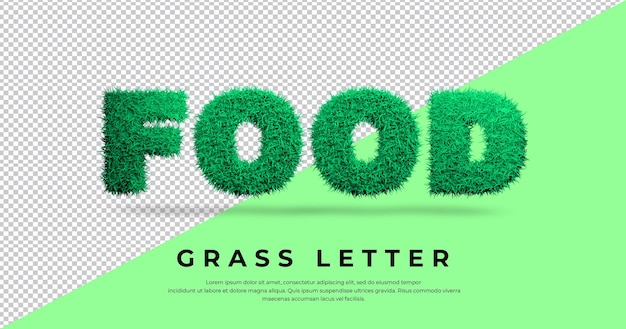Szablon efektu litery trawy żywności