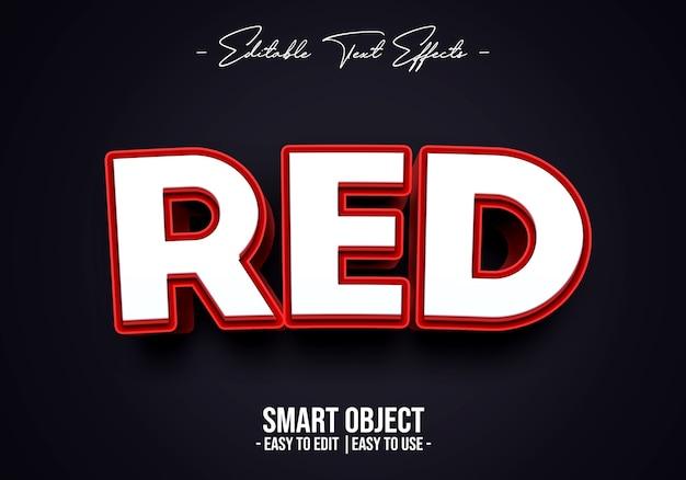 Szablon efektu stylu 3d czerwony tekst