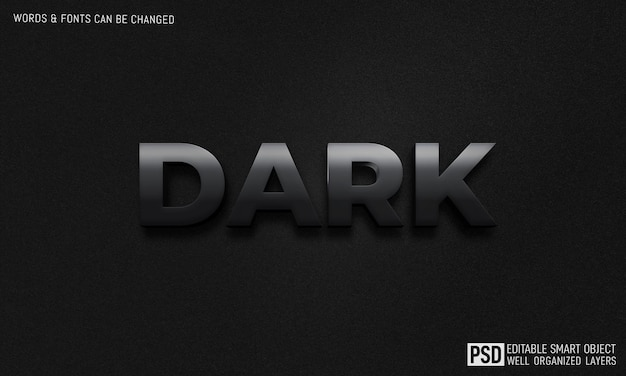 Szablon efektu stylu ciemnego tekstu 3d