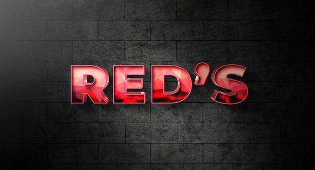 Szablon efektu stylu czerwonego tekstu