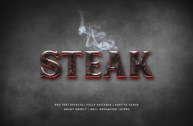 Szablon efektu stylu tekst 3d w stylu steak house