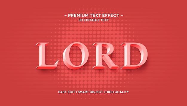 Szablon efektu stylu tekstu 3d lord