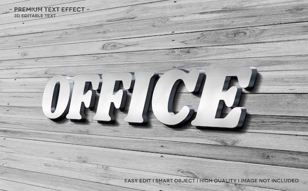 Szablon efektu stylu tekstu 3d w biurze