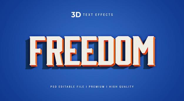 Szablon efektu stylu tekstu 3d wolności