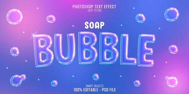 Szablon efektu stylu tekstu bańka mydlana 3d