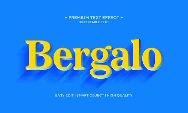 Szablon efektu stylu tekstu bergalo 3d