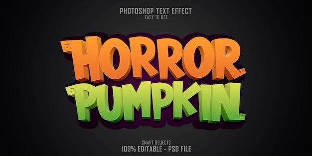 Szablon efektu stylu tekstu horror pumpkin 3d