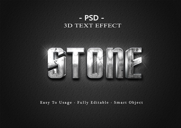Szablon efektu stylu tekstu kamienia 3d