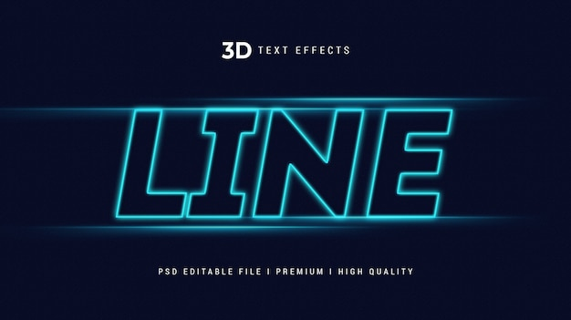 Szablon efektu stylu tekstu linii 3d