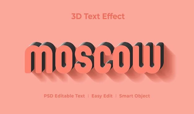 Szablon efektu stylu tekstu moskwa 3d