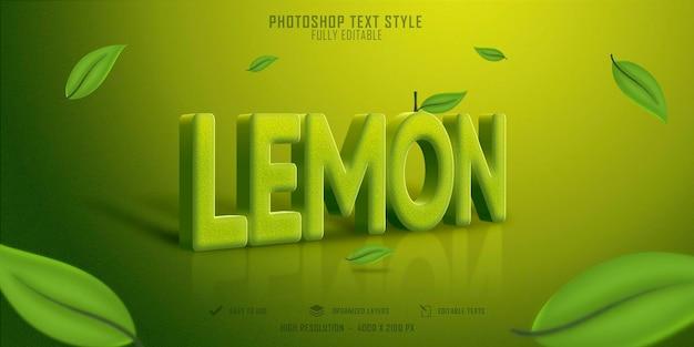 Szablon efektu stylu tekstu owoców cytryny 3d premium psd