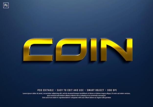 Szablon efektu stylu tekstu złota moneta