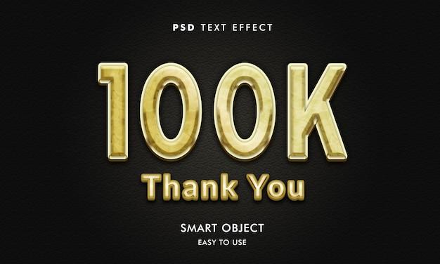 Szablon efektu tekstowego 100k ze złotym kolorem