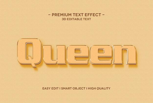 Szablon efektu tekstowego 3d królowej