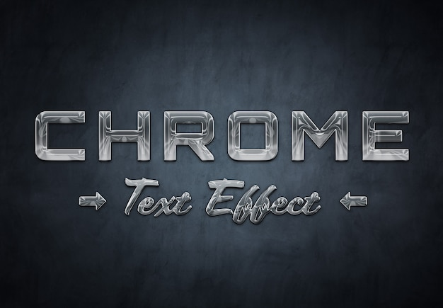 Szablon efektu tekstowego chromowanego metalu