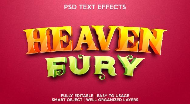 Szablon efektu tekstowego furii nieba
