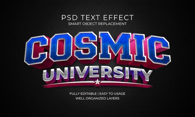 Szablon efektu tekstowego kosmicznego uniwersytetu