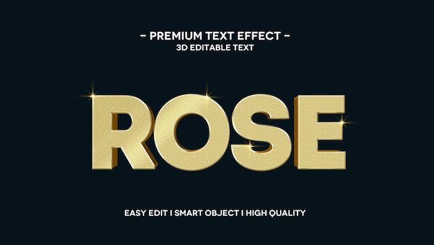 Szablon efektu tekstowego rose 3d