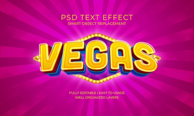 Szablon efektu tekstowego żarówki vegas