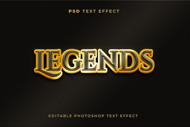 Szablon efektu tekstu legendy 3d ze złotym efektem
