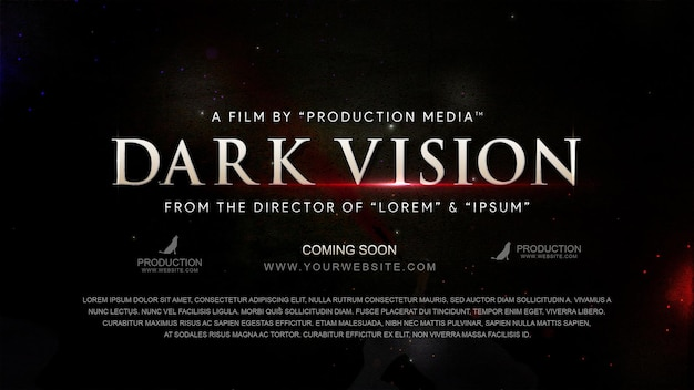 Szablon efektu tekstu tytułu filmu w stylu kinowym