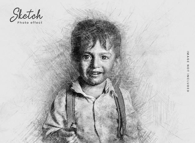 Szablon efektu zdjęcia szkicu ołówkiem