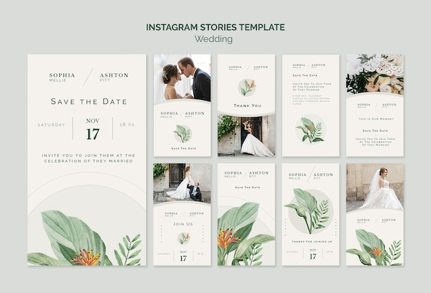 Szablon elegancki ślub historie instagram