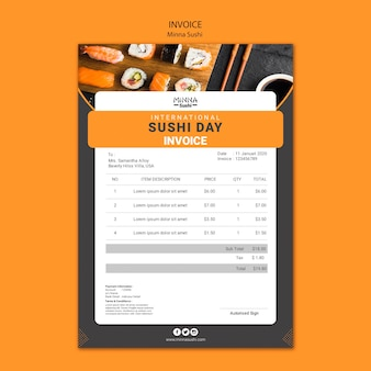 Szablon faktury na międzynarodowy dzień sushi