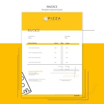 Szablon faktury z płatnością za restaurację pizzową