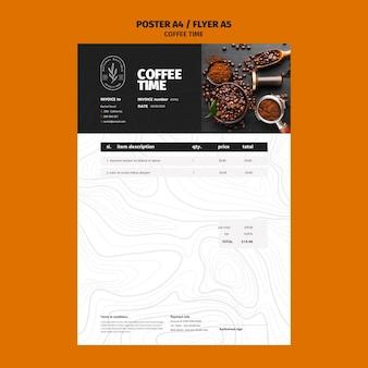 Szablon faktury ziaren kawy i cen