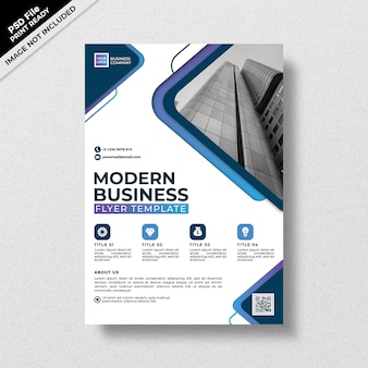 Szablon flyer nowoczesny biznes niebieski styl gradientu