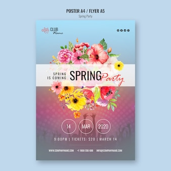 Szablon flyer party wiosna