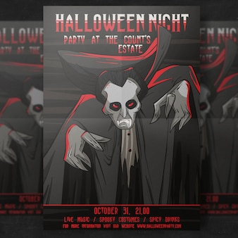 Szablon halloween party flyer