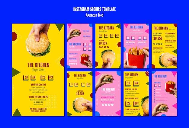 Szablon historii amerykańskiego jedzenia instagram