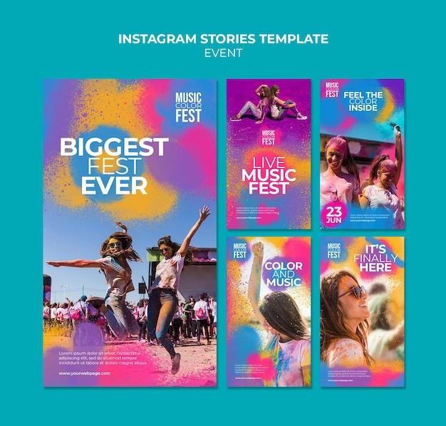 Szablon historii festiwalu muzycznego na instagramie