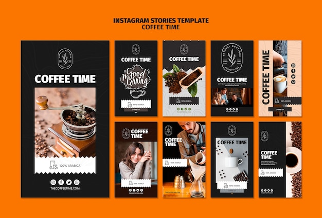 Szablon historii instagram czasu kawy i czekolady