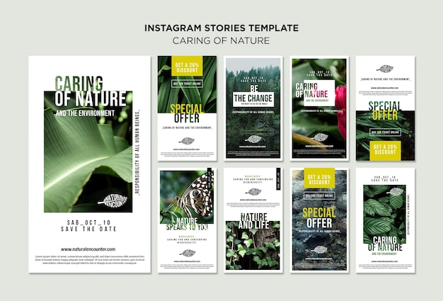 Szablon historii instagram koncepcja natury