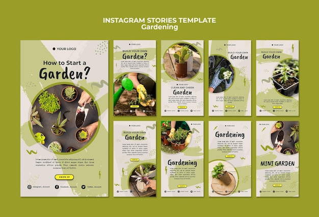 Szablon historii instagram ogrodnictwo