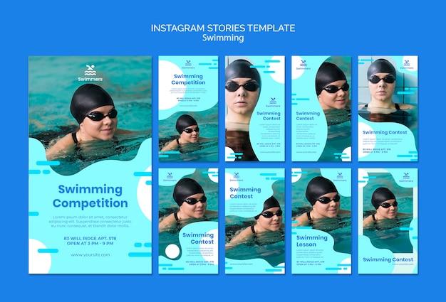 Szablon historii instagram pływania