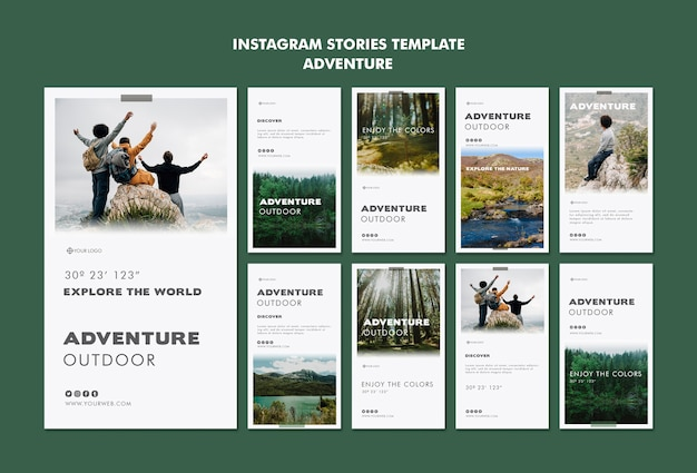 Szablon historii instagram przygody
