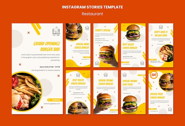 Szablon historii instagram restauracji burger