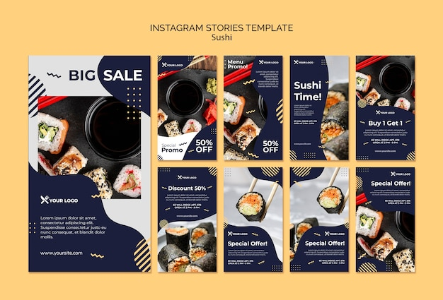 Szablon historii instagram sushi koncepcja