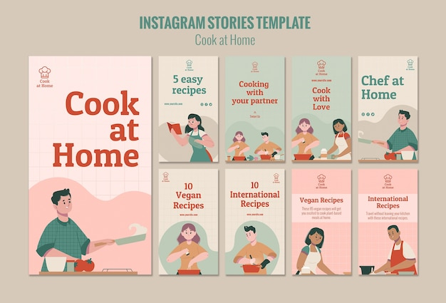 Szablon historii instagram szefa kuchni w domu