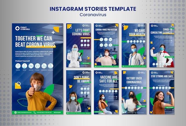 Szablon historii koronawirusa na instagramie