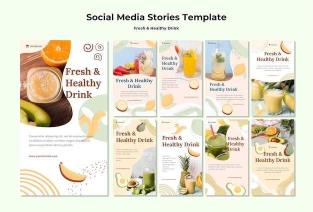Szablon historii mediów społecznościowych z sokami owocowymi